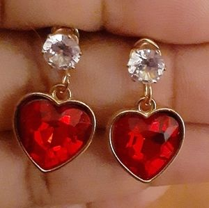 Jewelry - ❤Red Crystal❤Heart Dangles❤